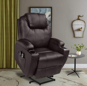 Recliner Power Lift Chair Wall Hugger PU Leather with Remote Control